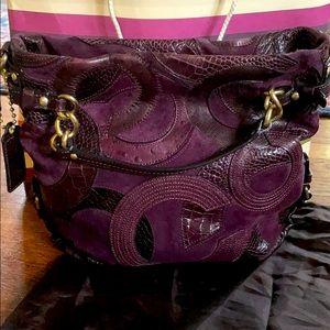Coach Leather & Suede Fall Purple Purse Bag